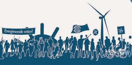 Grafik: Demonstranten vor symbolischer Sonne und Windkraftanlage. Transparent: »Energiewende retten!«.