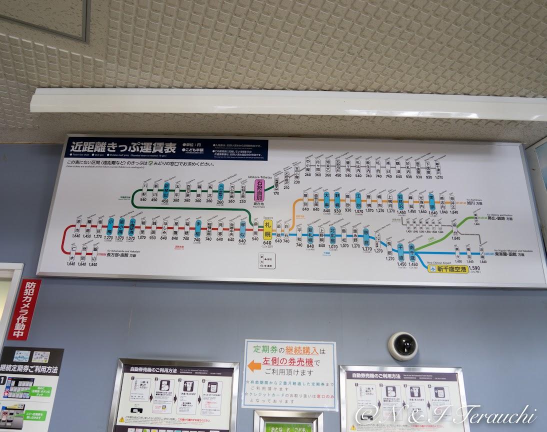 JR札沼線の運賃表