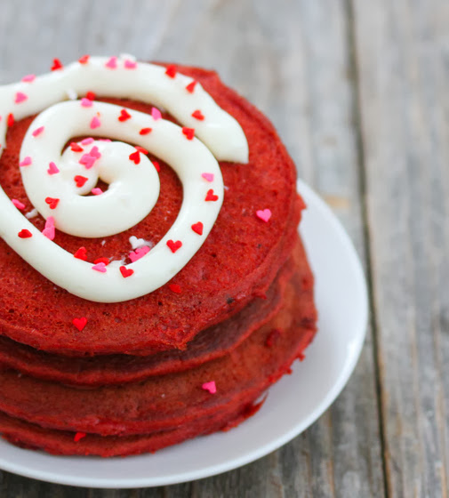 close-up photo of Red Velvet Pancakes