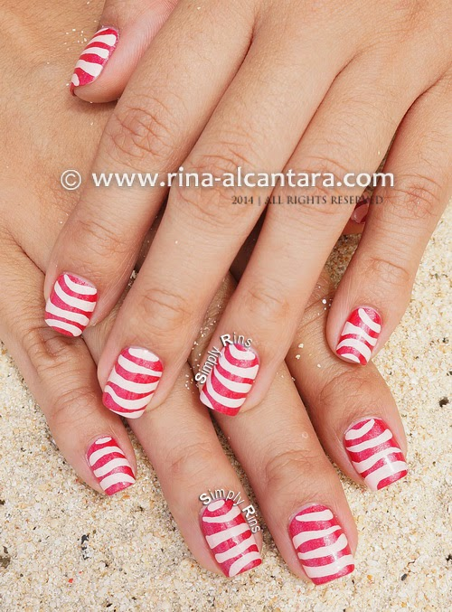 Pink Waves Nail Art Design by Simply Rins