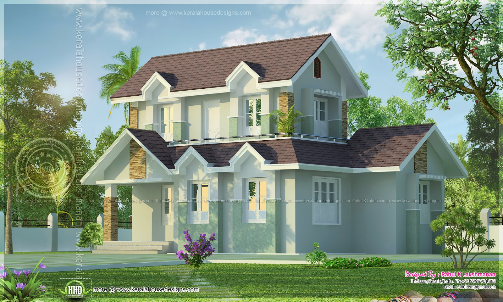 1045 square feet 3d view home exterior design kerala for House 360 view