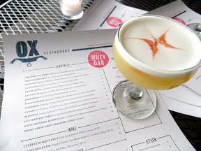 Ox restaurant cocktail at Whey Barwith the Tijuana Monk with Reposado Tequila, Benedictine, Lemon, Lime, Egg White