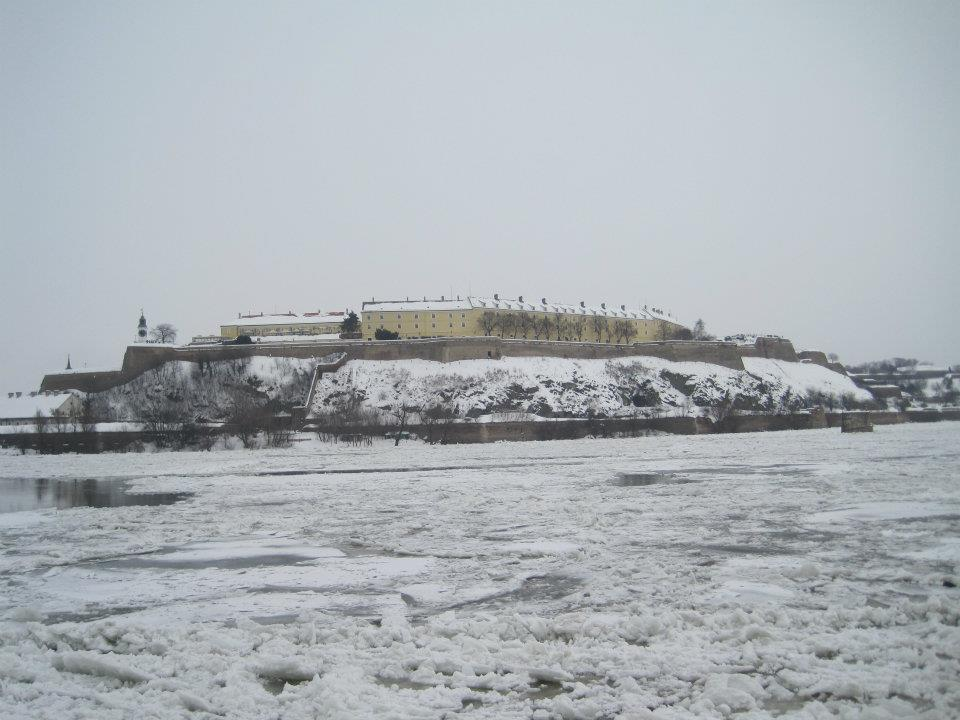 Petrovaradin Fortess on the Frozen Dunav River February 2012
