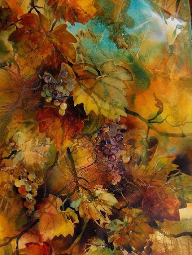 """""""Grapevine Collage I"""" by artist Shirley Nachtrieb."""