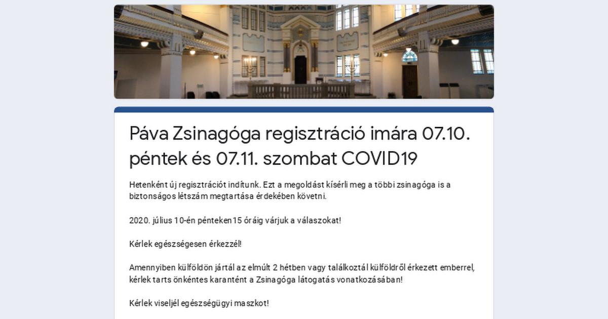 Páva Zsinagóga regisztráció imára 07.10. péntek és 07.11. szombat COVID19