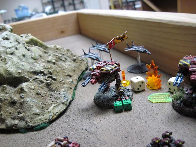 Matt L's Hound takes fire from Matt T's Hellblades on loan to Ruth.
