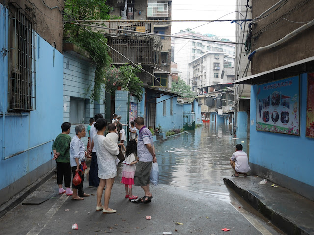 flooded Yudetang (余德堂) alley in Hengyang, China