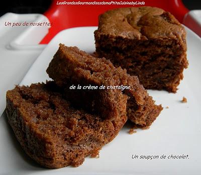 Moelleux à la châtaigne et aux noisettes aux effluves chocolatés façon l'Ardéchois - recette indexée dans les Desserts