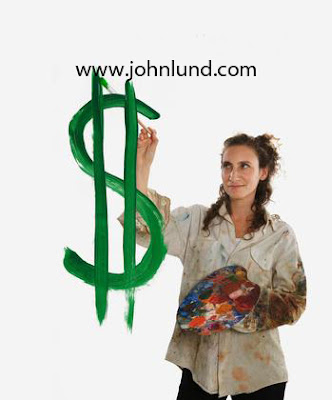 A woman artist paints a dollar sign symbolizing the art of earning money.