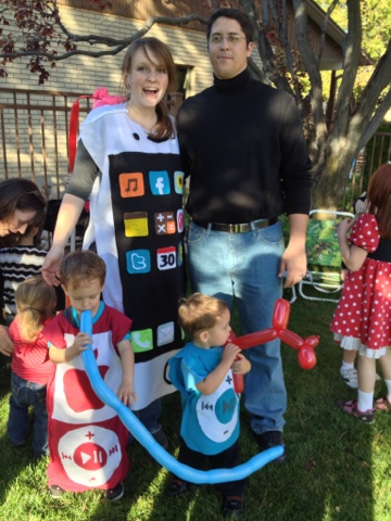 Halloween Costumes, Family Halloween Costume Themes, Apple Family, iPod Halloween Costume, iPhone Halloween Costume, Steve Jobs Halloween, Apple Costume