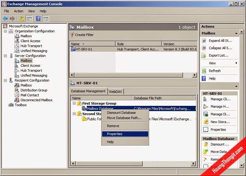 Cấu hình giới hạn dung lượng Database