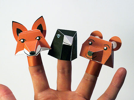 Fox Crow Bear Finger Puppet Paper Toys