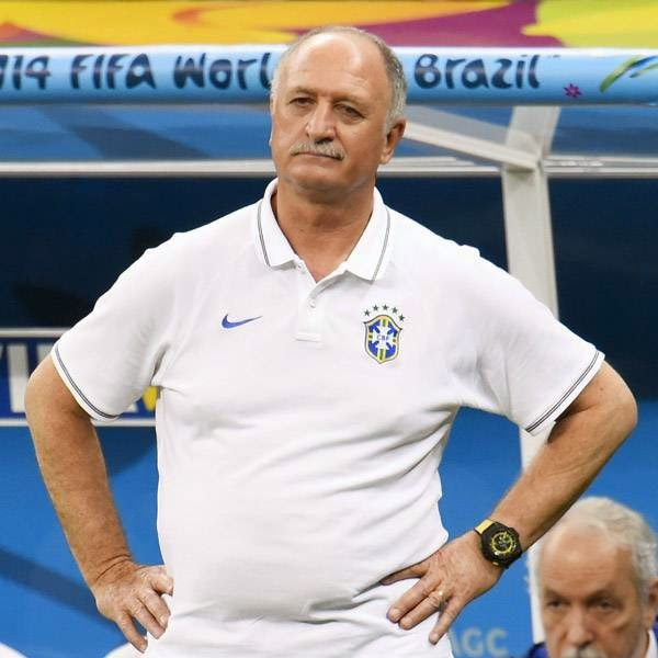 Brazil's coach Luiz Felipe Scolari reacts during the third place play-off football match between Brazil and Netherlands during the 2014 FIFA World Cup at the National Stadium in Brasilia on July 12, 2014.