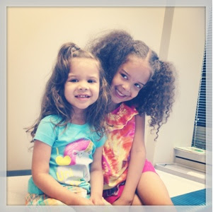 Bella and Gabby in the doctor's office