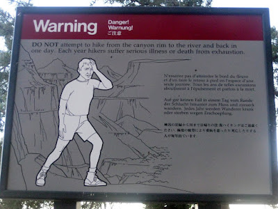 Grand Canyon Hike Warning Sign - Photo by Michelle Judd of Taste As You Go