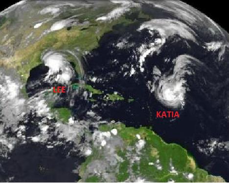 Hurrikan Katia und Tropensturm Lee