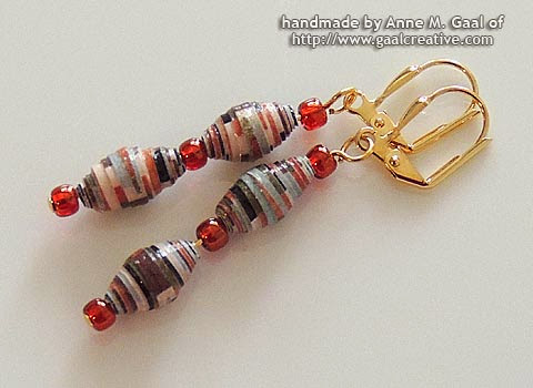 Gold, Copper, and Earth Tones Paper Bead Leverback Earrings handmade by Anne Gaal of http://www.gaalcreative.com