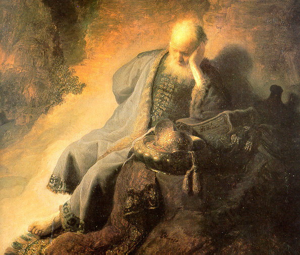 Jeremiah Lamenting the Destruction of Jerusalem, by Rembrandt (1630)