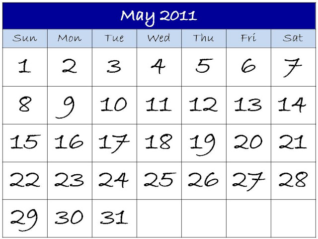 downloadable calendar 2011. Downloadable Calendar May 2011
