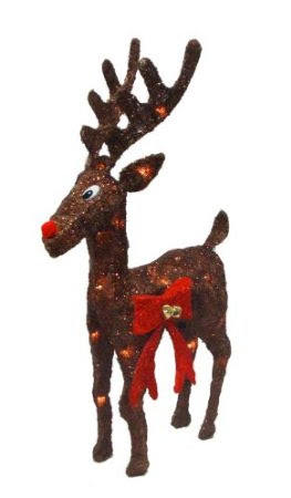 25.5-Inch Lighted Reindeer with Red Jingle Bell Bow Sisal Christmas Decoration