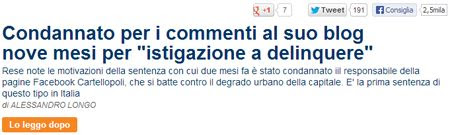 """Condannato per i commenti al suo blog nove mesi per """"istigazione a delinquere"""""""