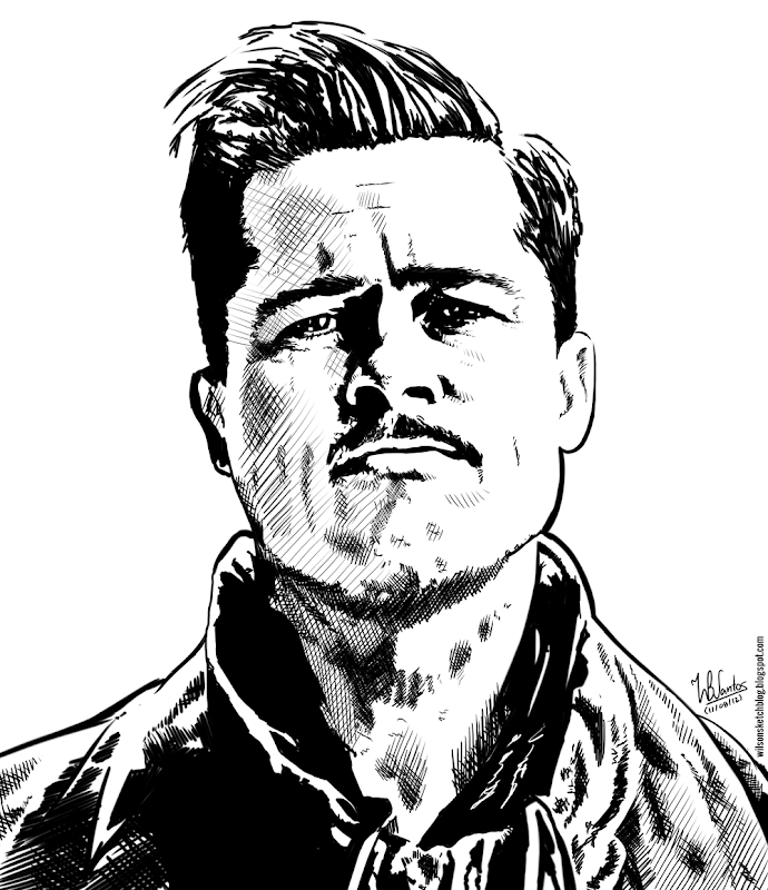 Ink drawing of Brad Pitt (Inglorious Basterds), using Krita 2.4.