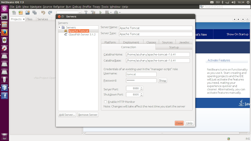Netbeans Add Server Problem di Ubuntu