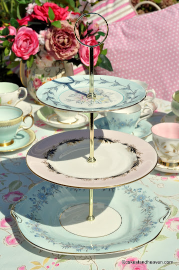 Pastels Tea Set Mismatched 3 Tier Cake Stand