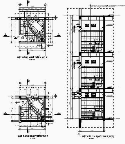 Mặt bằng, mặt cắt triển khai wc ( wc1, wc2, wc3)