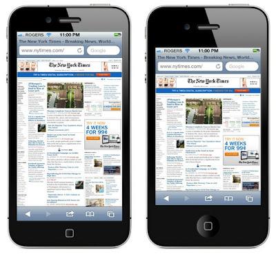 iPhone5の液晶パネルを縦方向に拡大した場合