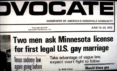 headline in the Advocate newspaper, June 20-23, 1970, p. 1