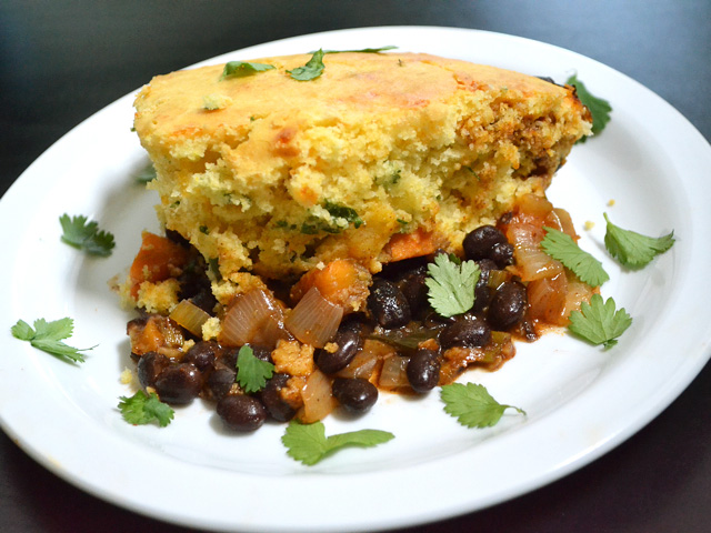 Plate with a slice of Vegetable Tamale Pie