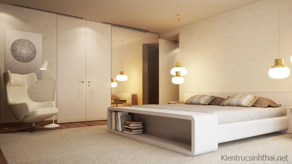 Phòng ngủ căn hộ penhouse mang phong cách Scandinavia