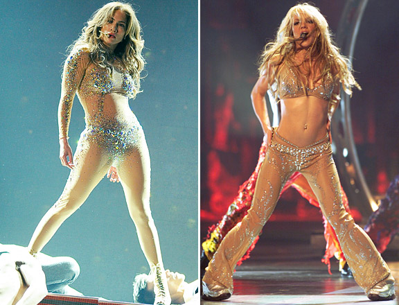 Jennifer Lopez performing at the 2011 American Music Awards on November 20, 2011 and Britney Spears performing at the 2000 MTV Video Music Awards on September 7, 2000