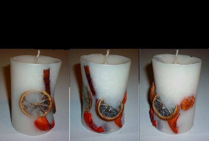 Χειροποίητο κερί με αποξηραμένα φρούτα, κανέλα και ποτ πουρί
