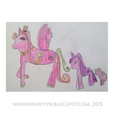 6-vuotiaan lapsen piirtämät Pikkuponit ja kaveri - 6-year-old child drew Little ponies and the pal