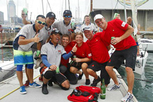 J/80 World Police Sailing police officers- having fun- winning Swiss crew.