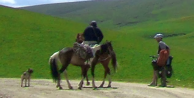 Gespräch mit kirgisischem Reiter samt zwei Pferden und Hund