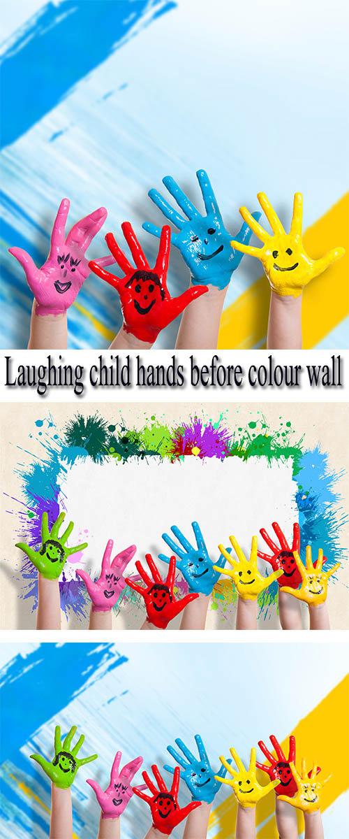 Stock Photo: Laughing child hands before colour wall