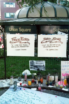 Memorial in Union Square in New York after September 11 2001 terrorist attacks