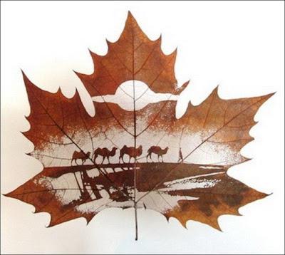 انقش صــورة تحــب الشجــر.. غاية الروعة leaf_painting_art_10