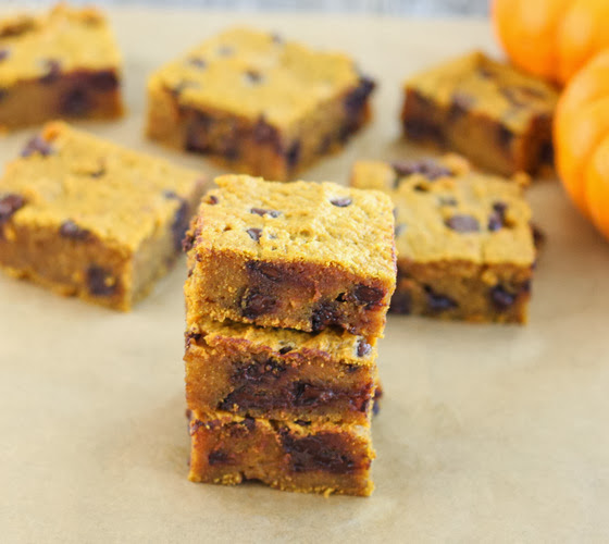 photo of a stack of three Pumpkin Chocolate Chip Bars