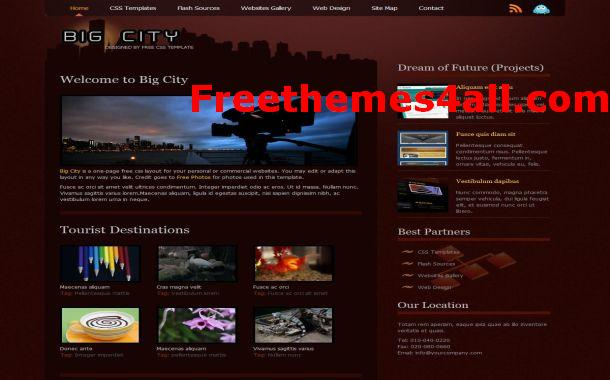 Free CSS Dark Brown Website Template