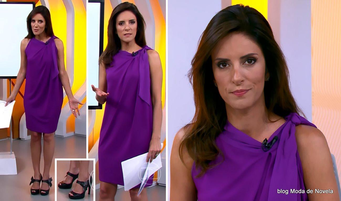 moda do programa Hora 1, vestido roxo da Monalisa Perrone dia 24 de dezembro