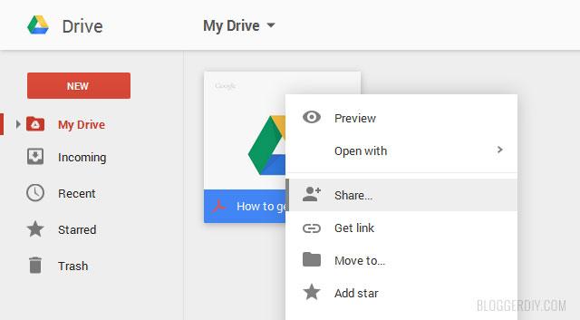 Google drive File sharing option