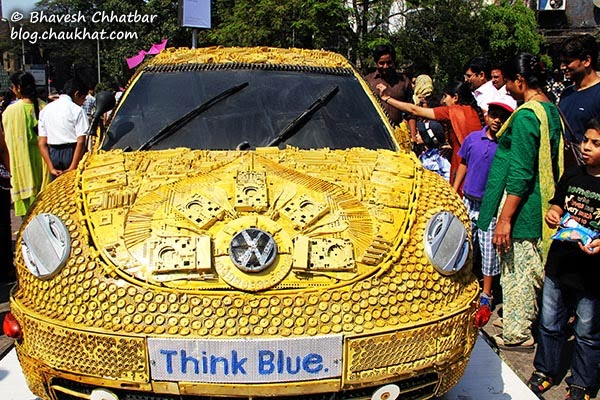 Kala Ghoda - Front view of Volkswagen Beetle made from scrap