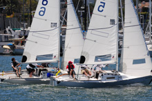 J/22 match racing in San Diego upwind