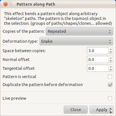 Pattern along path dialog