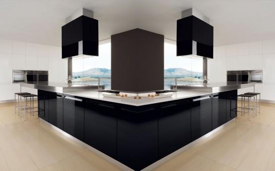 Dise o de hermosa cocina en blanco y negro decoracio for Aplicacion para diseno de cocinas