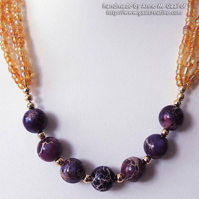 Amethyst Dyed Imperial Jasper and Amber Multi-Strand Necklace handmade by Anne Gaal of http://www.gaalcreative.com
